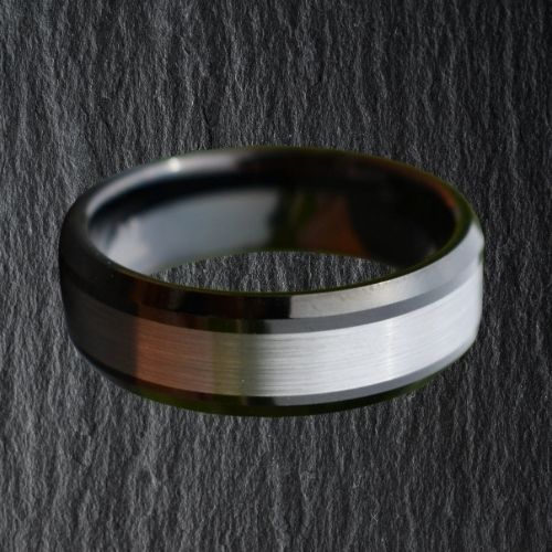 Black and Silver Tungsten Ring for Men