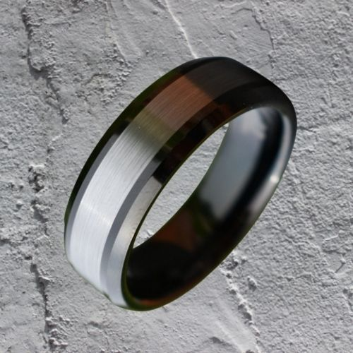Tungsten Ring for Men - Silver and Black