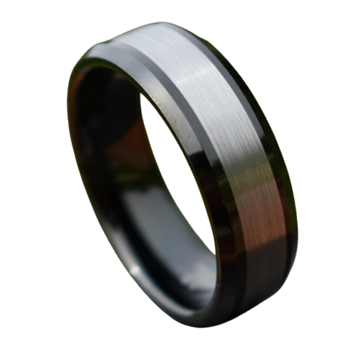 Black Tungsten Carbide Ring for Men with Brushed Silver Section at Centre