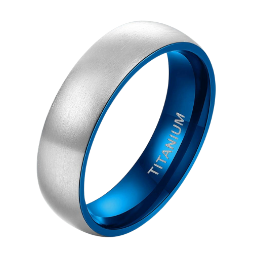 Brushed Silver Titanium Ring with Blue Edges and Interior - Ring for Men