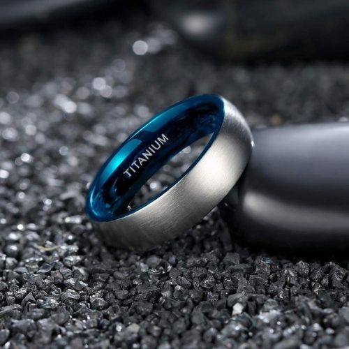 Silver and Blue Titanium Ring for Men