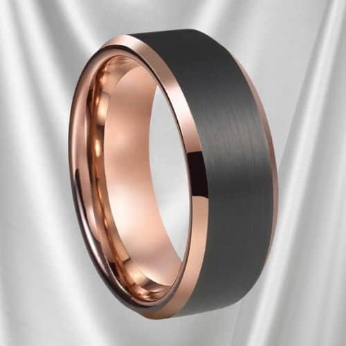 Matte Black and Polished Rose Gold Ring for Men