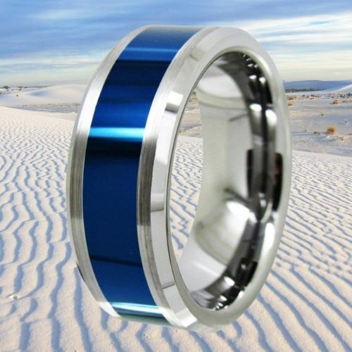 Silver Ring with Centre Section of Vivid Blue for Men