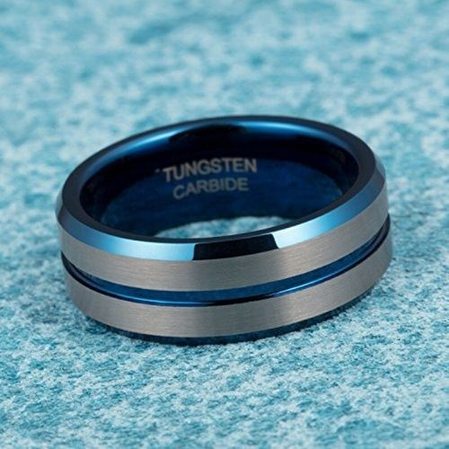 Tungsten Carbide Ring for Men - Silver and Blue