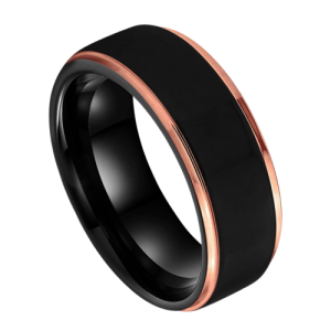 Black tungsten ring with rose gold edges