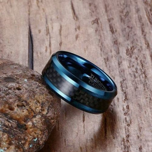 Men's Tungsten Carbide Ring - Blue with Inlay of Black Carbon Fibre