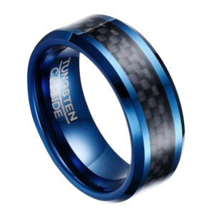 Men's Ring - Blue Tungsten Ring with Black Carbon Fibre Inlay
