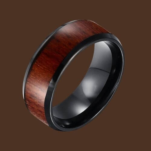Tungsten Carbide Men's Ring - Black with Natural Wood