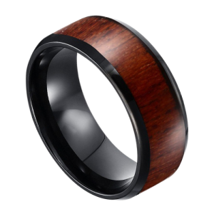 A black tungsten ring with natural wooden inlay