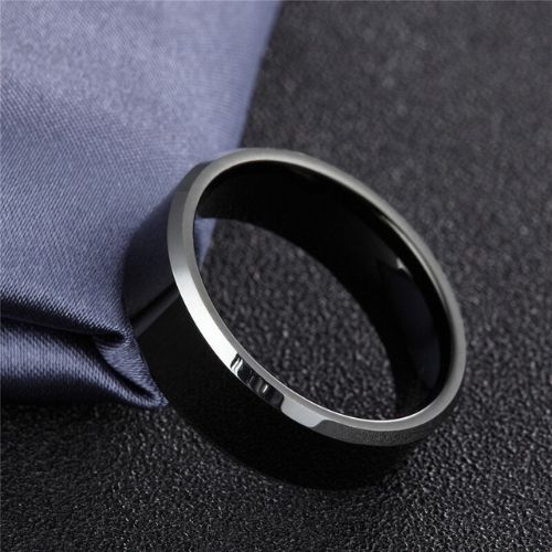 Black and Silver Tungsten Carbide Mens Ring