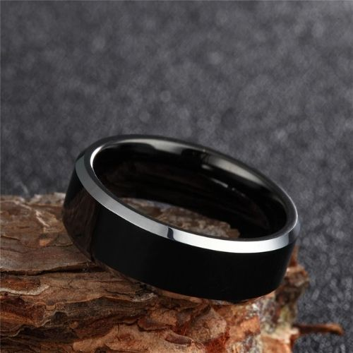 Polished black and silver tungsten ring for men