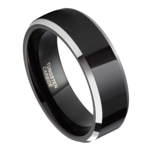 Gleaming ring for men - polished black and silver