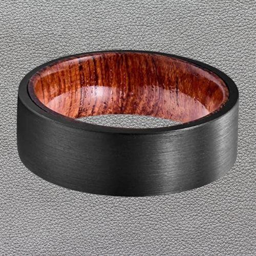 Men's Brushed Black and Natural Wood Ring