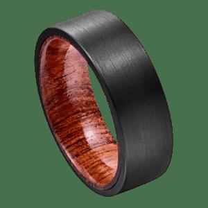 Brushed Black Ring for Men with Natural Wood Inside