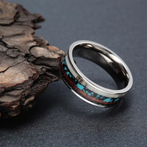 Wood, Opal, and Antler Bone set within Silver Titanium in this sensational ring for men