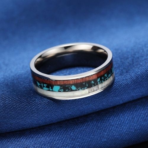 Titanium Ring for Men - Featuring Wood, Blue and Black Opal, and Antler Bone