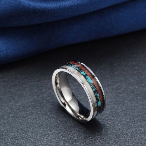 Titanium Ring for Men with Naturally Shed Deer Antler Bone, Wood, and Blue and Black Opal