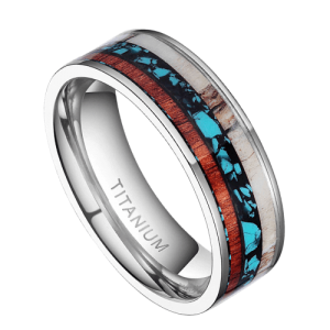 Silver Titanium Ring for Men with Inlays of Wood, Antler, and