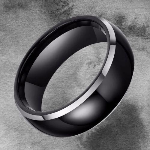 Men's Tungsten Carbide Ring - Black and Silver