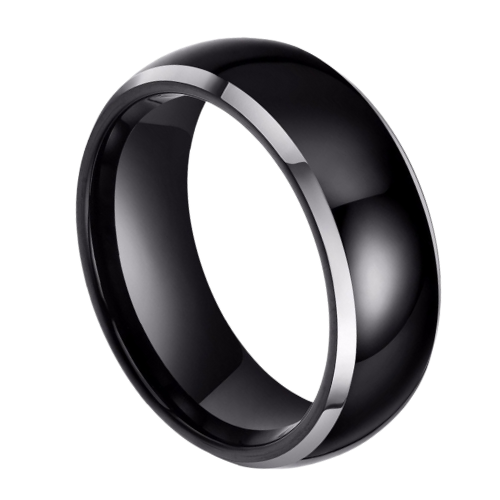 Polished Black Tungsten Ring for Men with Silver Edges, Dome Shaped