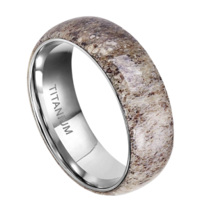 Men's Titanium Ring with Naturally Shed Deer Antler
