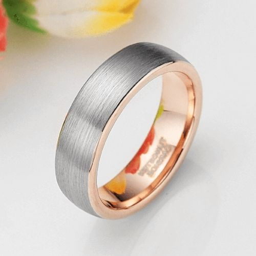 Brushed Silver and Rose Gold Ring for Men