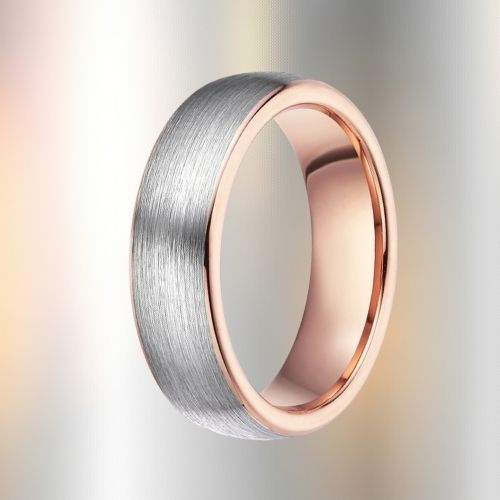 Rose Gold and Silver Ring for Men