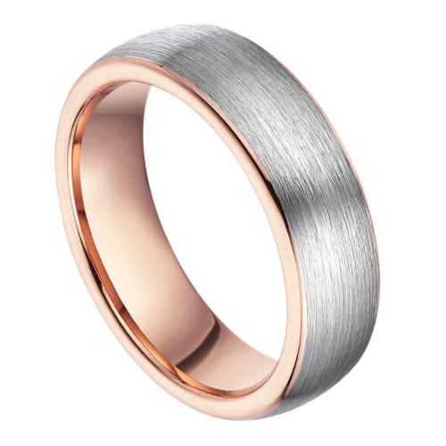 Brushed Silver Tungsten Ring for Men with Rose Gold