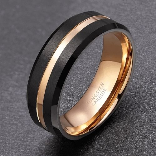 Black and Gold Ring for Men - Tungsten Carbide