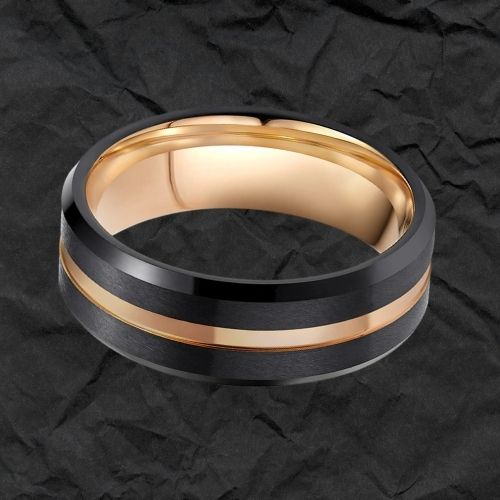 Black and Groove of Gold Tungsten Carbide Ring for Men
