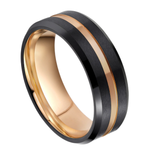 Black Ring with Groove of Gold and Gold Inside - Ring for Men