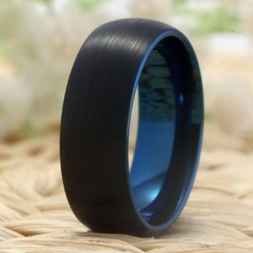 Tungsten Carbide Men's Ring with Vivid Blue Inside