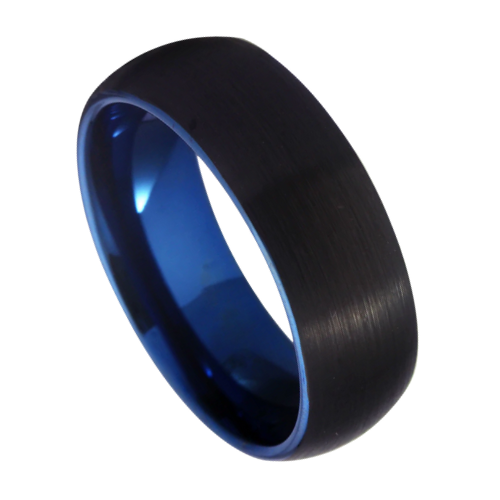 Brushed black ring for men with a bright blue interior that can be seen at the edge of the ring