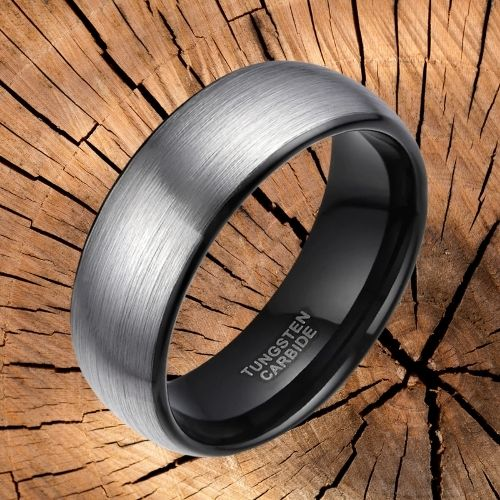 Tungsten Carbide Ring for Men - Brushed Silver and Black