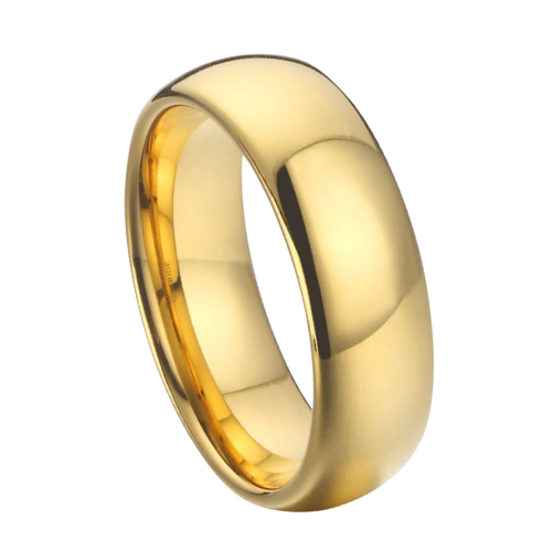 Gold Ring for Men - Dome Shaped Tungsten Ring