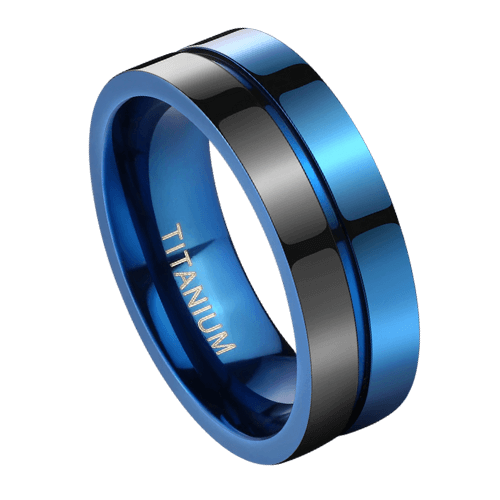 Gleaming black and blue men's titanium ring