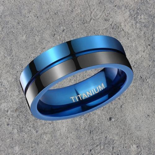 Titanium Ring for Men in Black and Blue