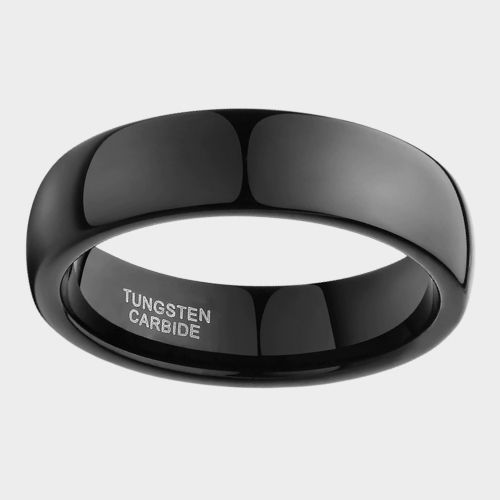 Shining and gleaming all black ring men's ring