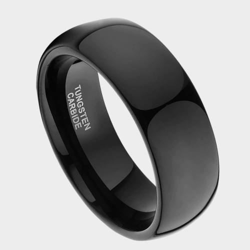 Black Dome Shaped Men's Tungsten Ring