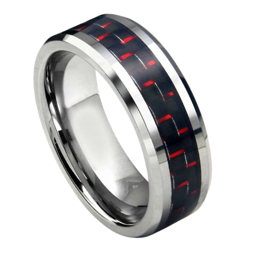 Silver Tungsten Ring for Men with Carbon Fibre Inlay