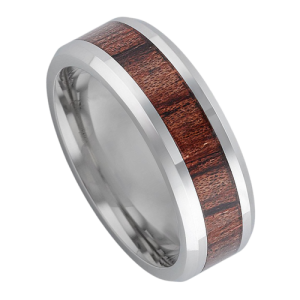 Silver Titanium Ring with Inlay of Wood