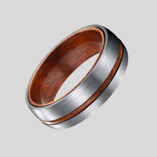 Brushed Silver Titanium and Natural Wood Ring for Men