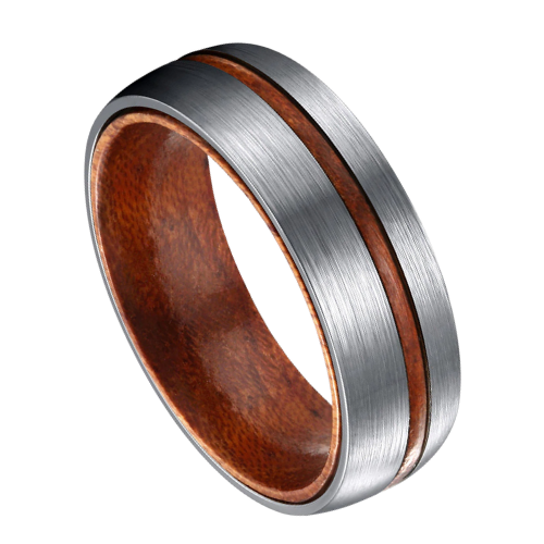 Brushed Silver and Wood Ring for Men
