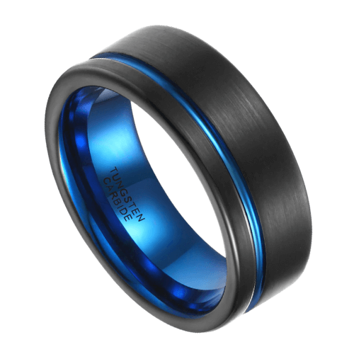 Brushed Black and Groove of Blue Ring for Men