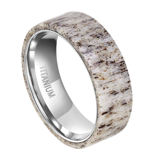 Titanium Ring made with Naturally Shed Deer Antler