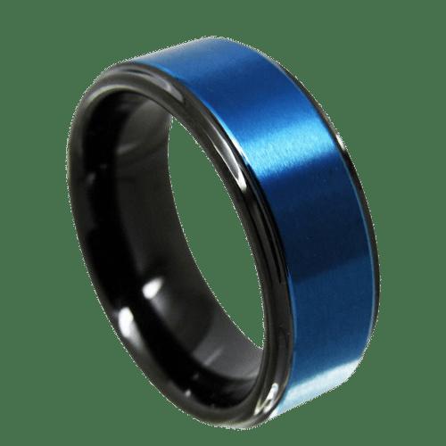 Men's Blue and Black Ring