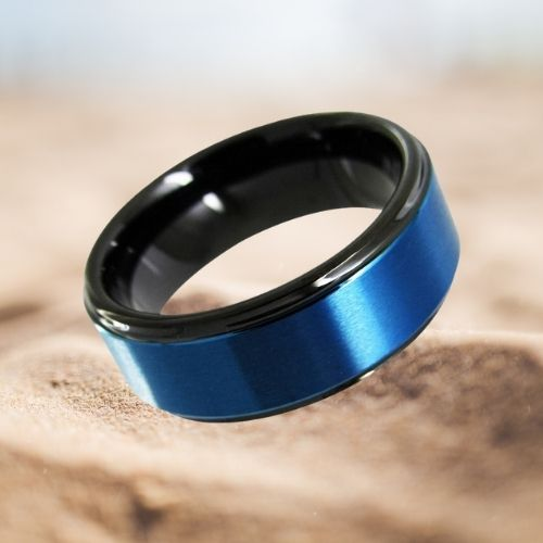 Black and blue tungsten ring designed for men