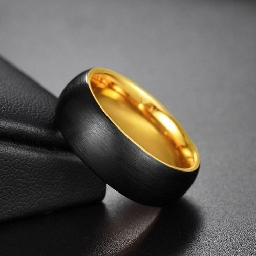 Brushed black and gold ring for men