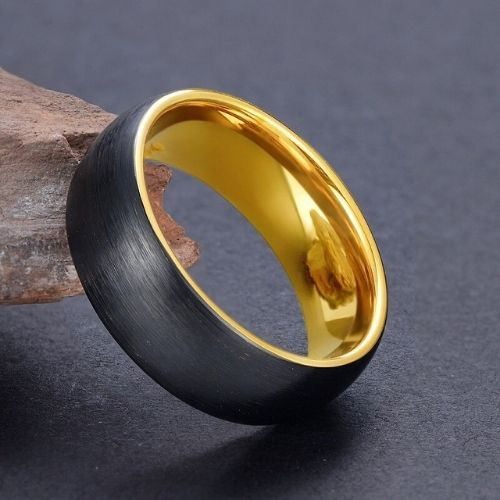 Tungsten Ring for Men - Black and Gold