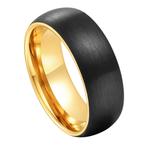 Black Ring for Men with Gleaming Gold Rims and Interior